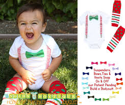 baby boy christmas christmas for boys white suspenders bow tie legwarmers