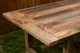 Wooden Patio Dining Set - arbor exchange reclaimed wood furniture weathered outdoor