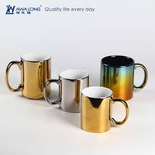 modern mug modern design golden silvery porcelain custom mug gold plated mug