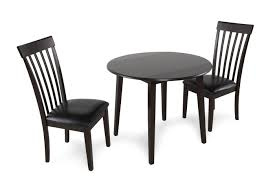 Mathis Furniture Ontario by Three Piece Contemporary Leather Round Dining Set In Dark Brown