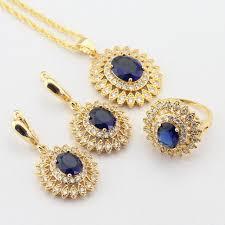 necklace set blue stone images Buy wpaitkys blue stones white cz gold color jpg