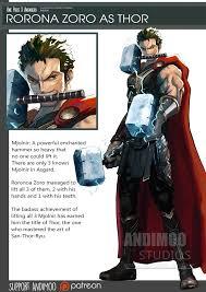 one piece avenger rorona zoro as thor by andimoo on deviantart
