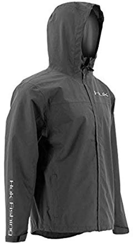 HUK Performance Fishing Packable Rain Jacket Charcoal Gray Extra Large H4000015-010-XXL