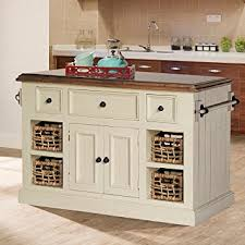 kitchen island cart with granite top amazon com large granite top kitchen island in country white finish