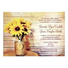 Sunflower Wedding Invitations Mason Jar Wedding Invitations Rustic Country Wedding Invitations