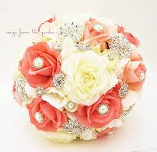 coral boutonniere coral white brooches and blooms bridal bouquet groom s boutonniere