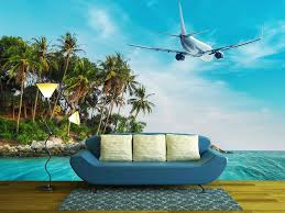 wall26 com art prints framed art canvas prints greeting wall26 airplane flying over amazing ocean landscape with tropical island thailand travel destinations removable wall mural self adhesive large
