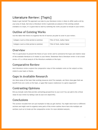 template of a literature review outline