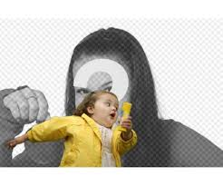 Yellow Raincoat Girl Meme - photomontage with the bubble girl in the yellow raincoat and the