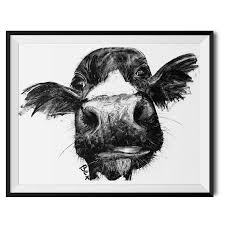 cow charcoal fine art giclée print by wraptious