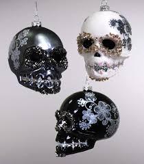 katherine u0027s collection glass skull ornament black white 3