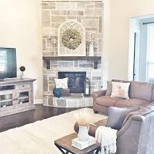 Love The Stone On This Corner Fireplace Smoked Leuders Chopped - Furniture placement living room with corner fireplace