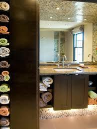 bathroom wall towel storage window over bathtub glass bathroom