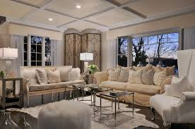 contemporary living room with animal hide rug by diane guariglia