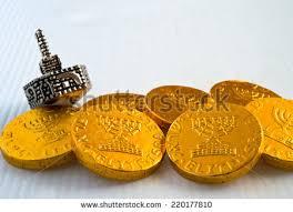hanukkah chocolate coins chocolate coins silver dreidel hanukkah stock photo
