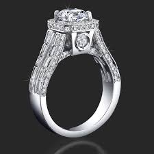 large engagement rings baguette and halo style diamond engagement ring with large