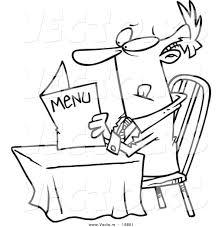 vector of a cartoon businessman reading a diner menu outlined