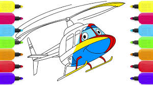 how to draw helicopter for kids coloring pages drawing videos