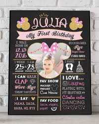 1st birthday chalkboard birthday poster minnie mouse photo minnie mouse