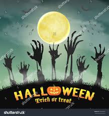 halloween zombie hand night graveyard stock vector 666506830