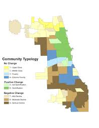 Map Chicago Suburbs by Gentrification Index Portrays Chicago Neighborhoods 1970 2010