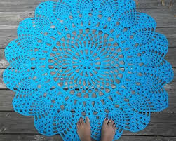 hand crafted turquoise cotton crochet rug in large 42