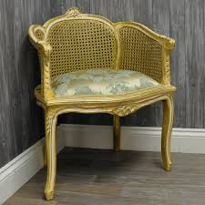 Damask Chair Antique Gold Finish Wicker Back Louis Chair Upholstered With Duck