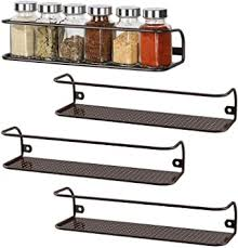wall hung kitchen cabinets nex 4 pack spice rack wall mounted seasoning storage organizer shelf for kitchen cabinet cupboard pantry brown