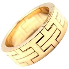 gold bands hermes h motif wide yellow gold band ring for sale at 1stdibs