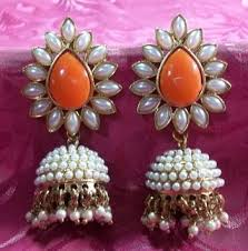 buy jhumka earrings online buy aashiqui 2 earrings orange polki pearls jhumka earrings online