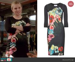 wornontv jeannie u0027s black floral dress on house of lies kristen