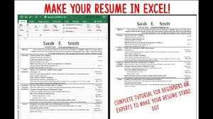 exle resume for make a resume cv using excel fast attractive and easy to
