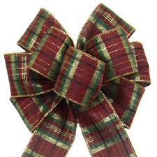 wired christmas ribbon christmas bows wreath bows wired burgundy plaid bow 8 inch