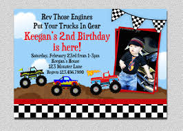 monster truck birthday invitations template best template collection