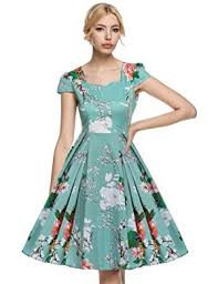 light green dress with sleeves amazon com acevog women s 1950s cap sleeve swing vintage floral