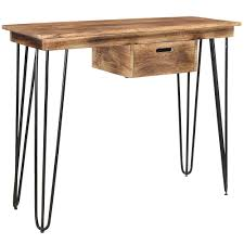 accent furniture jaydo console table desk in natural burnt console tables
