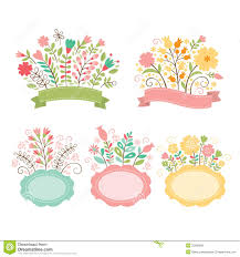 floral bouquets set of floral bouquets and frames royalty free stock images
