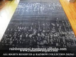 Tibetan Hand Knotted Rug Nepal Hand Knotted Modern Wool Bamboo Silk Aloe Tibetan Rug Carpet