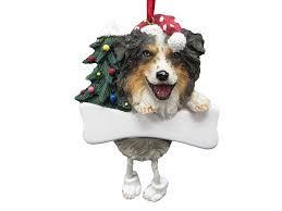 australian shepherd ornament with unique dangling legs