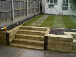 Rear Garden Ideas Garden Designs With Sleepers 1000 Images About Garden Design