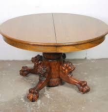 Oak Pedestal Table Oak Lion Motif Pedestal Table Ebth