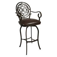 Counter Height Swivel Bar Stools With Arms Furniture Black Iron Swivel Stool With Round Carved Back And Arm