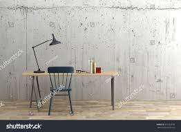 minimal modern working space concrete wall stock illustration