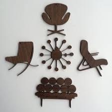 mid century modern ornaments on a mid century modern