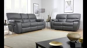 beaumont grey leather recliner sofas by furniture choice youtube