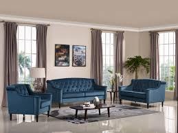 divani casa carly transitional blue velour sofa set sofas