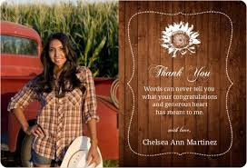 graduation thank you card brown country chic graduation thank you card graduation thank