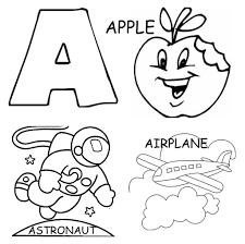 alphabet coloring pages printable apple airplane and astronout