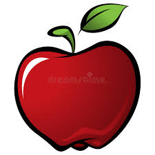 apple cartoon cartoon shiny delicious red vector fresh apple with green leaf stock