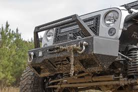 military jeep front stubby black front led winch bumper w black series leds for 07 17